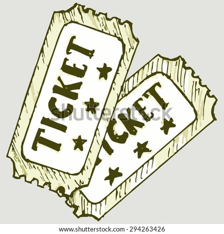 Vector image of two movie tickets