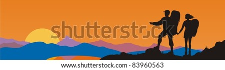 Vector image of two tourists and mountains