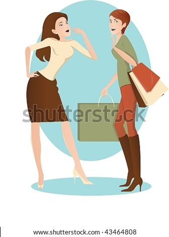Vector image of two women, one with a successful shop, the second - looks at her admiringly - stock vector