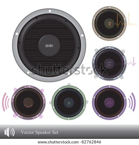 Vector image of various colorful speakers isolated on a white background.