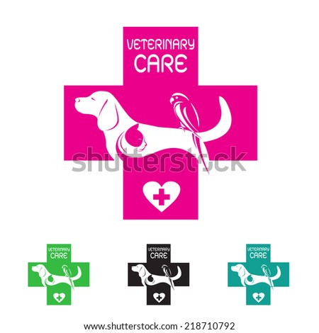 Vector image of veterinary symbol with dog cat and bird on white background - stock vector