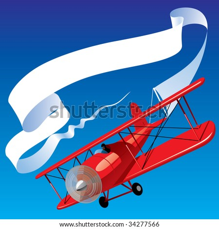 Vector image of vintage red airplane with blank banner in the sky - stock vector