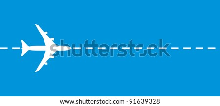 vector image of white silhouette of jet airplane - stock vector
