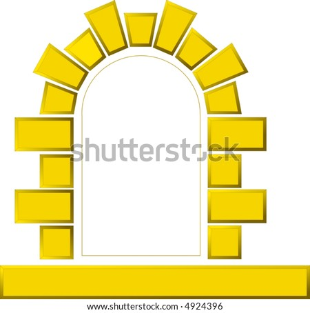 vector image of window made of stones in the wall of building - stock vector