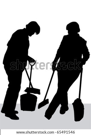 Vector image of woman, sweeping leaves. Silhouette of work people