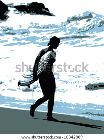 Vector image of woman walking with surfboard on the beach - stock vector