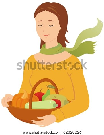 Vector image of woman with fruits and vegetables