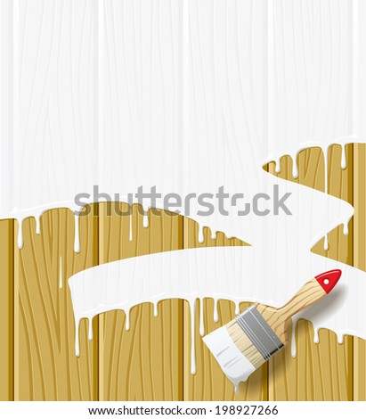 Vector image of wood boards painted in white color with a paint brush - stock vector