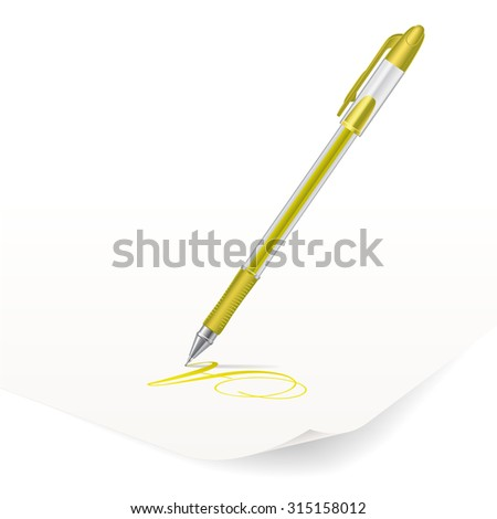 Vector image of yellow ballpoint pen writing on paper