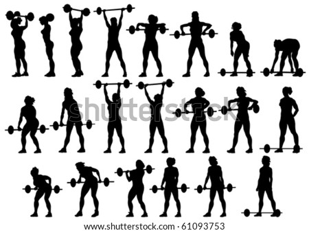 Vector image of young athletic women with a heavy barbell - stock vector