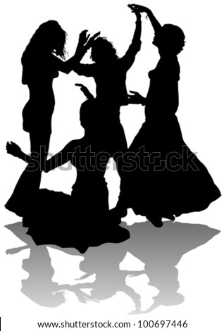 Vector image of young girls dancing - stock vector
