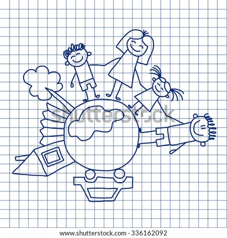 Vector image on notebook paper. Happy family. Kids drawing - stock vector