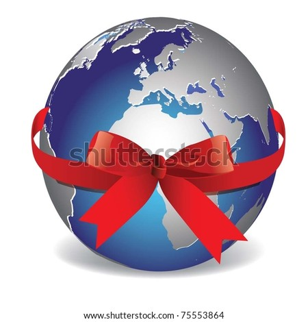 vector image. Planet Earth with red ribbon. - stock vector