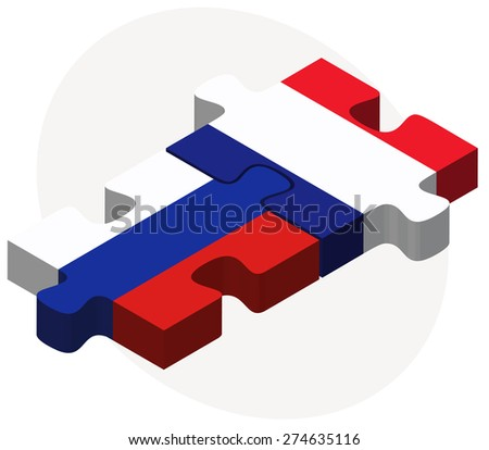 Vector Image - Russian Federation and France Flags in puzzle isolated on white background