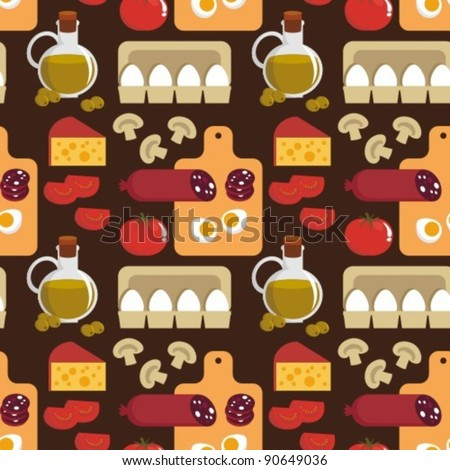 Vector image. Seamless background. Food - the ingredients for pizza