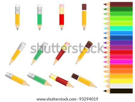 Vector image  set  pencils  different  colour - stock vector