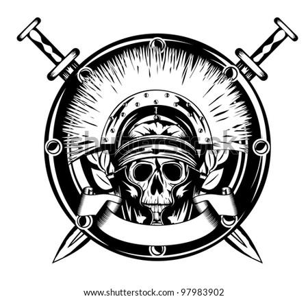 Vector image skull in helmet  and shield and crossed sword - stock vector