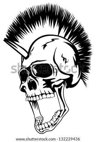 Vector image skull of the punk with mohawk on head - stock vector