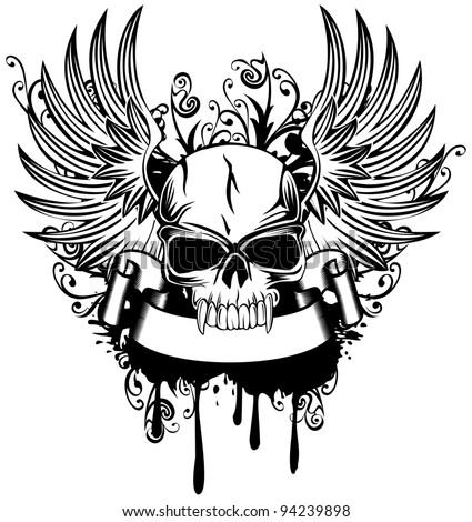 Vector image skull with wings and patterns - stock vector