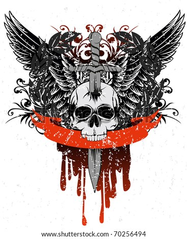 Vector image skull with wings, patterns and ribbon - stock vector