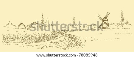 Vector image. Summer landscape with views of the wheat field with a footpath to the mill - stock vector