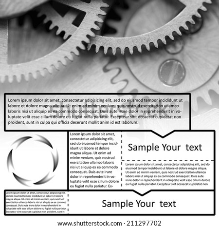 Vector image technological black-and white background for Your success design. Metal cogwheels a clockwork. Graphic elements  layout  for website - stock vector