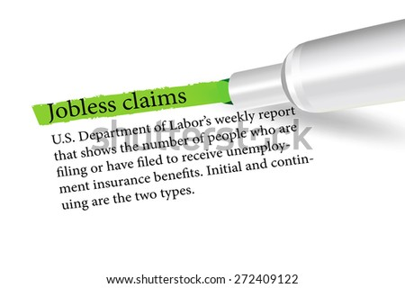 Vector Image - term overlined in green color by a pen of the Jobless Claims isolated on white background