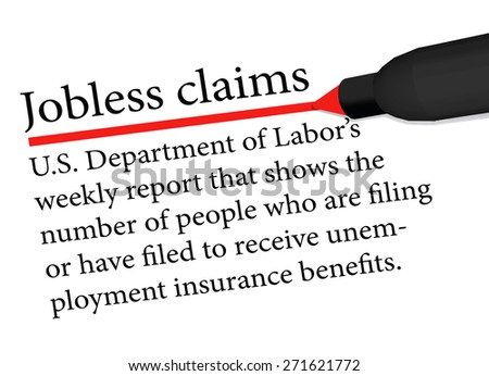 Vector Image - term underlined in red color by a pen of the Jobless Claims isolated on white background