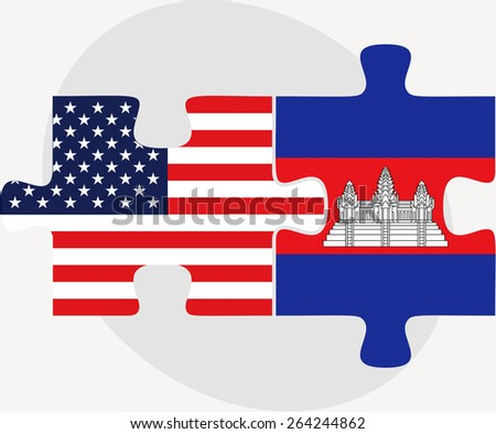 Vector Image - USA and Cambodia Flags in puzzle  isolated on white background