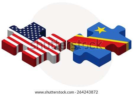 Vector Image - USA and Democratic Republic of the Congo Flags in puzzle  isolated on white background  - stock vector