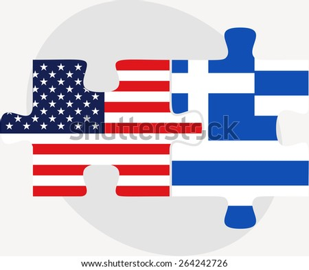 Vector Image - USA and Greece Flags in puzzle  isolated on white background