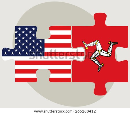Vector Image - USA and Isle of Man Flags in puzzle  isolated on white background