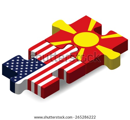 Vector Image - USA and Republic of Macedonia Flags in puzzle  isolated on white background  - stock vector
