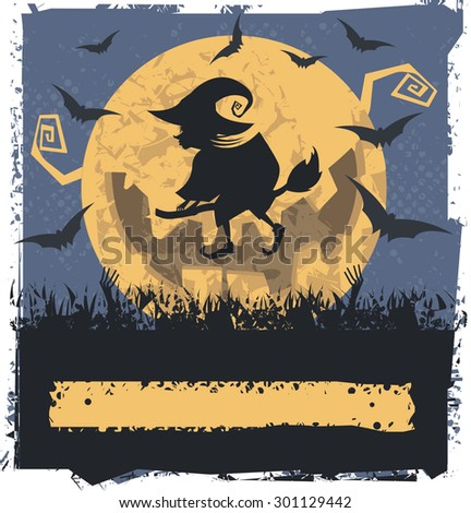 Vector image with Flying Witch On Broom.