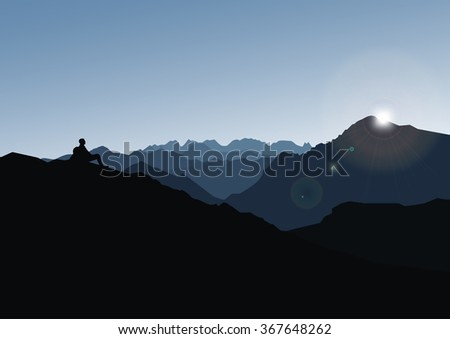 Vector image with the sunset in the mountains and with man on the top - stock vector