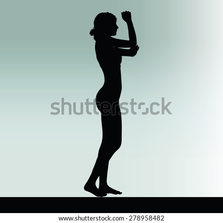 Vector Image - woman silhouette with hand gesture