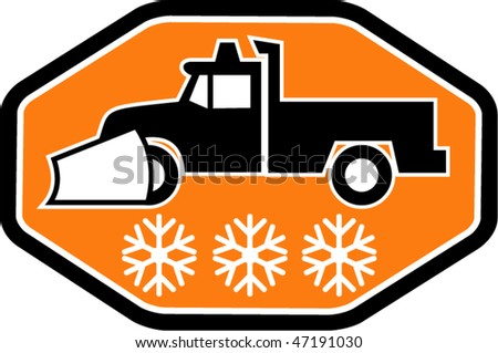 vector Imagery shows a Snow plow truck with snowflake in background inside hexagon