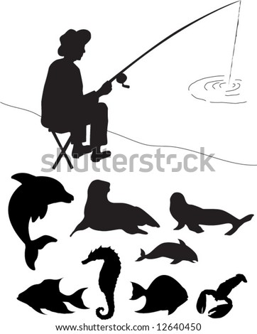 vector images of aquatic silhouettes