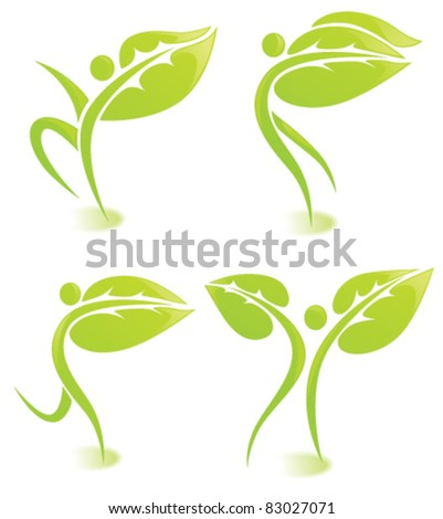 vector images of ecological people - stock vector
