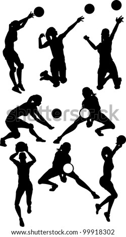 Vector Images of Female Volleyball Silhouettes Spiking and Setting Ball - stock vector