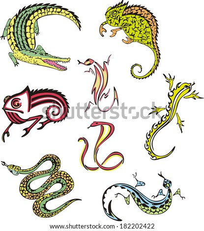 Vector images of miscellaneous reptiles. Set of illustrations. - stock vector