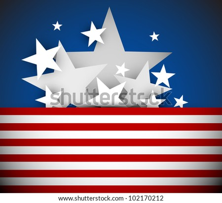 Vector independence day background with red stripes and white stars - stock vector