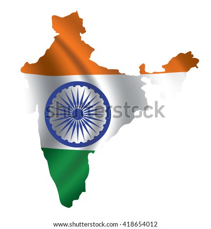 Vector India flag blowing in the wind in India map shape.