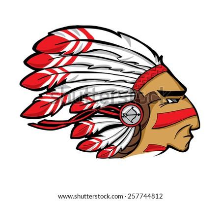 vector Indian chief head  - stock vector