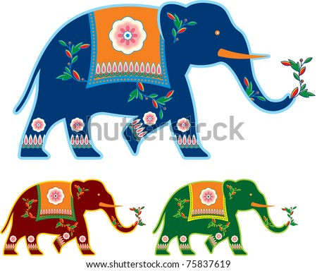 Vector Indian Decorated Elephant - stock vector