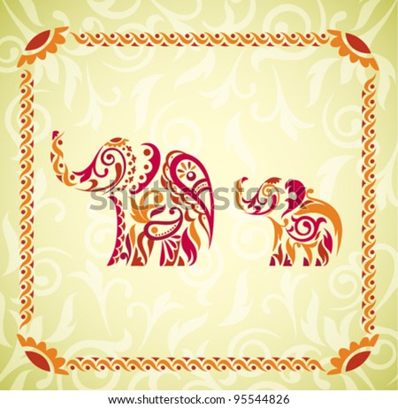 Vector Indian Elephants - stock vector
