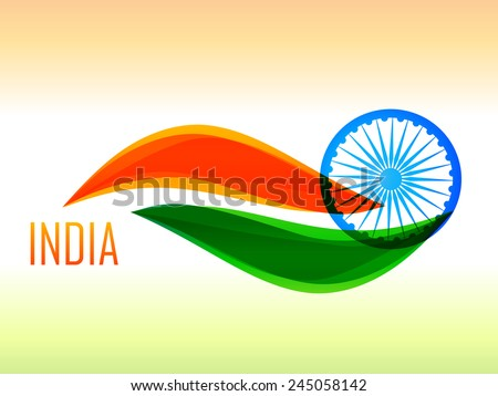 vector indian flag design illustration made in wave style in tricolor background  - stock vector
