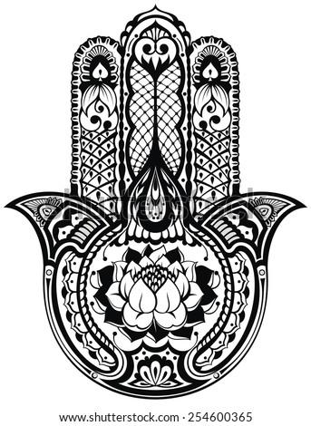 Vector Indian Hand Drawn Hamsa Symbol Stock Vector