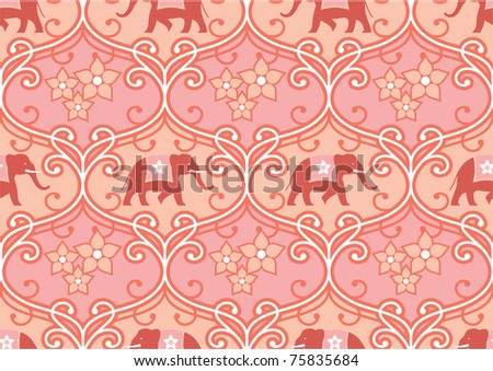 Vector Indian (Hindu) Seamless Tile with Elephant - stock vector