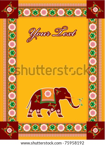 Vector Indian (Hindu) Style Template with Copy space (invitation, card, poster, flayer) - stock vector